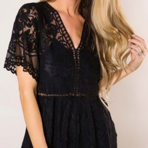 Other - Black Lace Open Back Romper